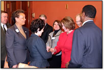 Speaker Pelosi greeting university presidents